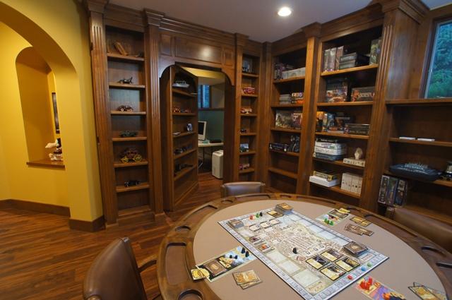 Custom Basement Library with Hidden Bookcase Door